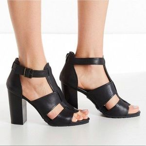 Urban Outfitters M4D3 Caged Mara Leather Heels